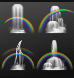 rainbow waterfall realistic 3d natural objects vector image