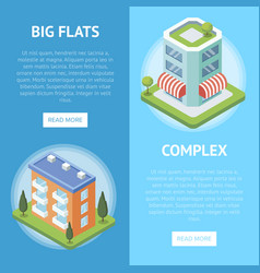 Real estate complex with big flats flyers vector