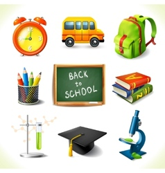 Realistic school education icons set vector image