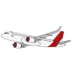 Red and white jet airliner vector