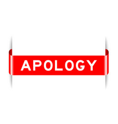 Red color inserted label banner with word apology vector