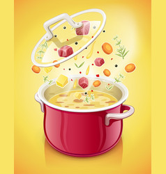 Red saucepan with lid kitchen vector