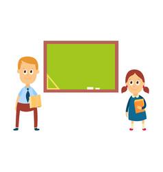 school girl and boy standing at blackboard board vector image