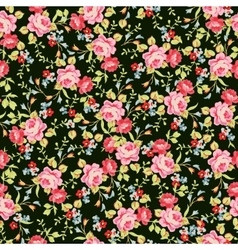 Seamless floral pattern with little pink roses on vector