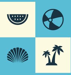 Season icons set collection bead conch melon vector