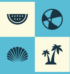 Season icons set collection of bead conch melon vector