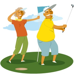 Senior couple playing golf vector