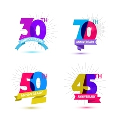 set anniversary numbers design 30 70 vector image