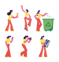 set female characters throw garbage eating ice vector image