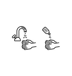 Set hand sanitizer icon in line art outline style vector