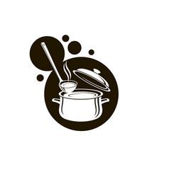 set pan soup and ladle vector image