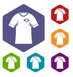shirt with flag of brazil sign icons set hexagon vector image