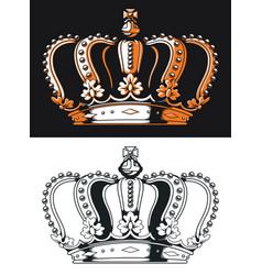 Silhouette queen crown antique vector