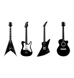 silhouettes of acoustic guitar and electric vector image