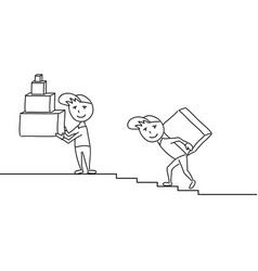 Sketchy delivery men with boxes on the steps vector