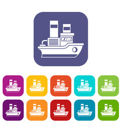 Small ship icons set vector