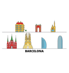 spain barcelona city flat landmarks vector image