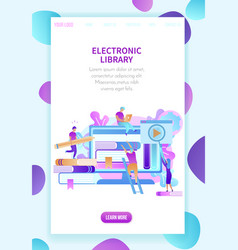 students training by electronic library technology vector image