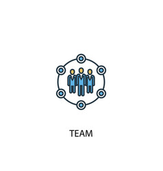 team concept 2 colored line icon simple yellow vector image