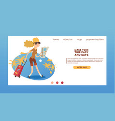 Tourist web page traveling people traveler woman vector
