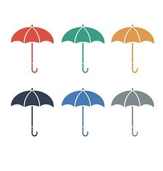 Umbrellacolor flat color set vector image