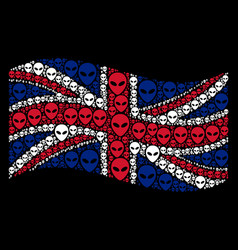 Waving uk flag collage of alien face icons vector