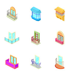 window hole icons set isometric style vector image
