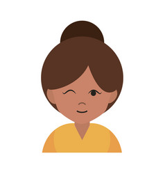 Woman wink and bun hair cartoon portrait female vector