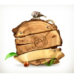 Wooden banner tree stump vector image