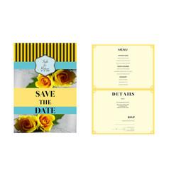 Yellow flowers wedding invitation template vector