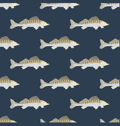 Zander fish wild nderwater predator seamless vector