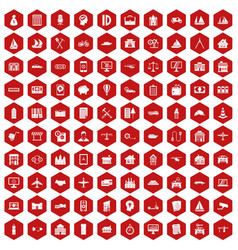 100 private property icons hexagon red vector image