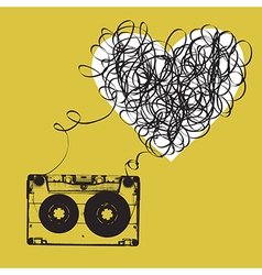 Audiocassette with tangled tape Haert shaped vector image vector image
