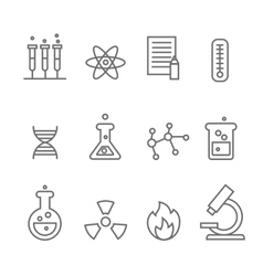 Chemistry science and bio technology line icons vector image vector image