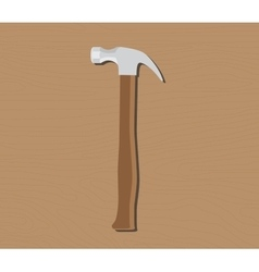 hammer tools isolated with wood grip and vector image