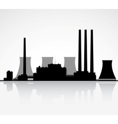Nuclear Power Plant Silhouette vector image vector image
