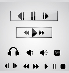 playback icon set icons for audio player in vector image