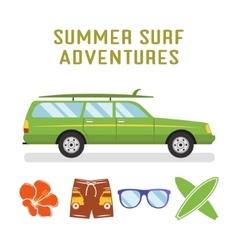 retro flat surf car design and elements - vector image