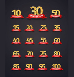 set of isolated event numbers with red ribbons on vector image vector image