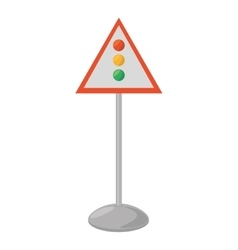 sign road light traffic white background vector image
