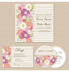 wedding invitation cards set vector image vector image