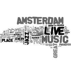 Amsterdam live music hotspots text word cloud vector