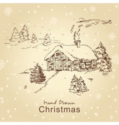 christmas card with landscape vector image