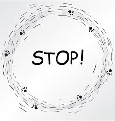 Circular frame with cat foot prints vector