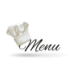 cook hat menu chef hat vector image