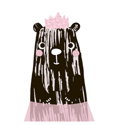 cute bear with glitter pink crown vector image vector image