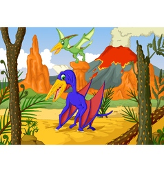 cute two pterodactyl cartoon with volcano vector image