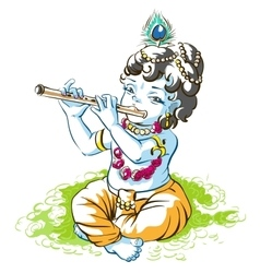 God Krishna Janmashtami Boy shepherd playing vector image