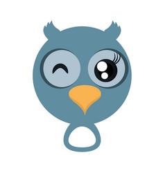 Kawaii face owl animal fun vector