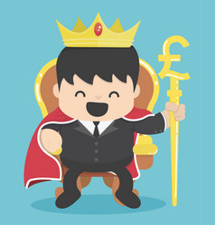 king of businessman with silver pound symbol vector image vector image